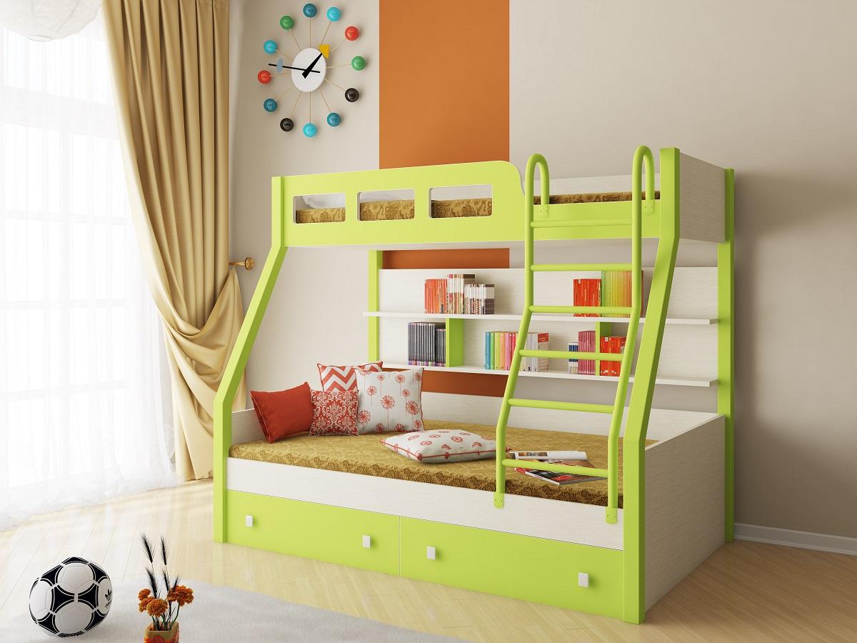 Двухъярусная кровать с полками
