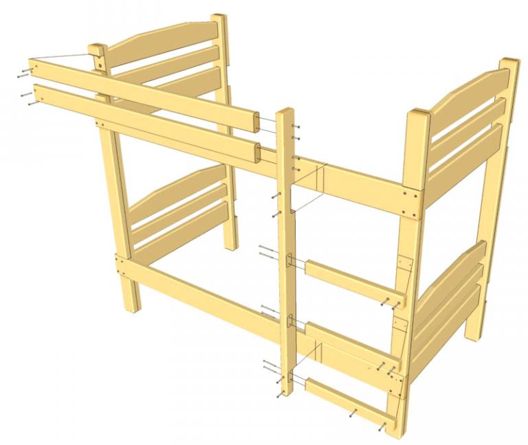 Двухъярусная деревянная кровать чертежи