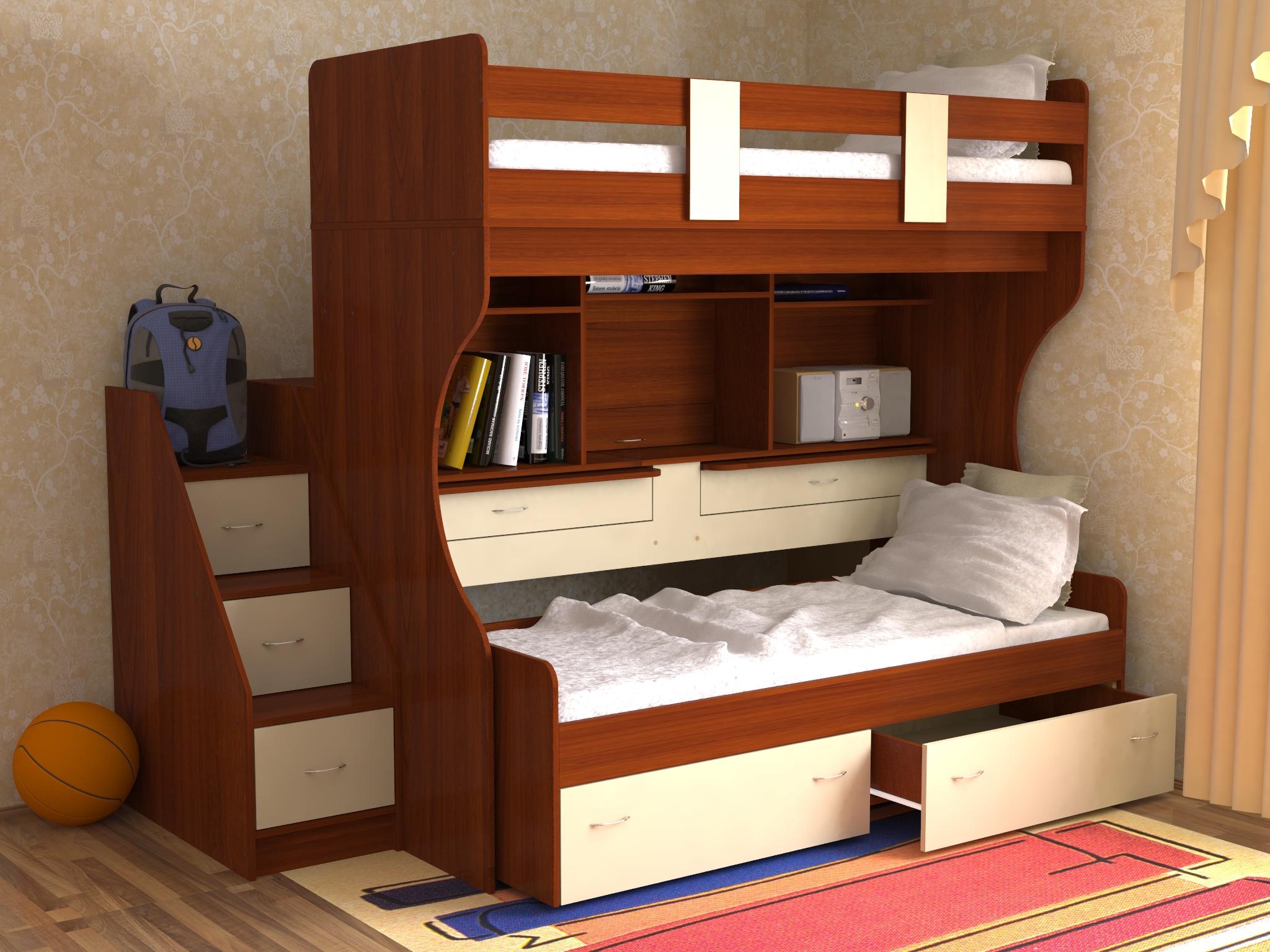 Двухъярусная кровать для двух детей с ящиками