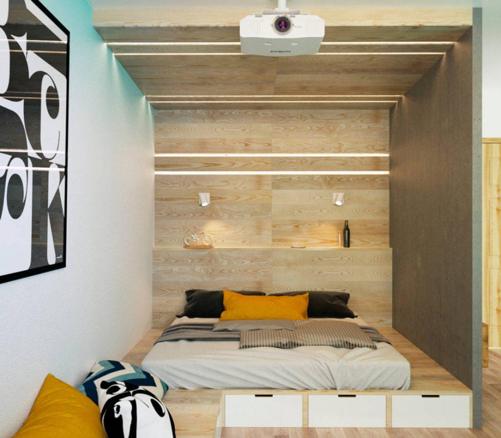 Подиум со встроенной кроватью