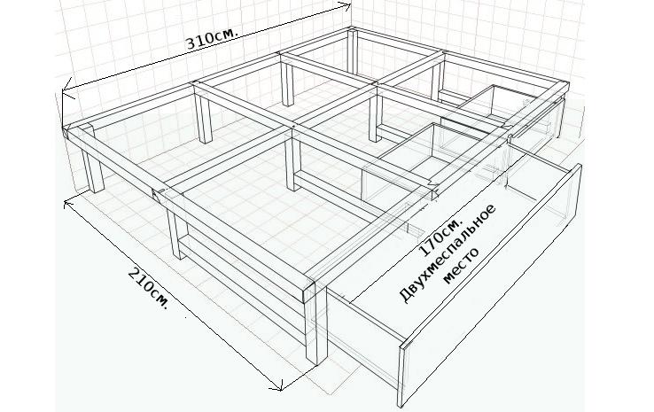 Подиум с выдвижной кроватью своими руками пошагово 47