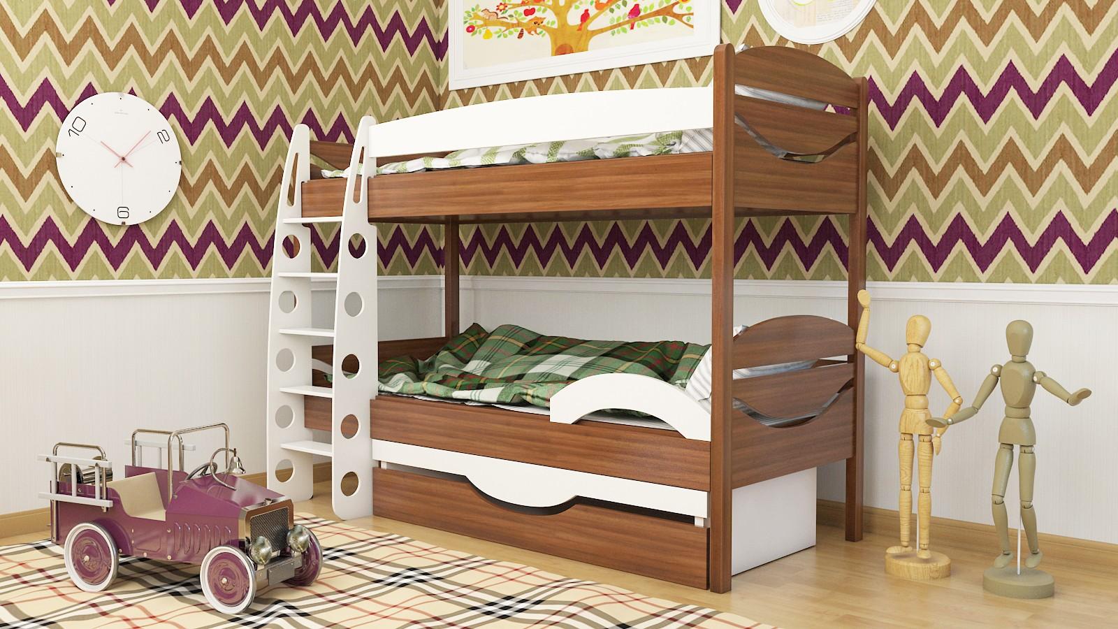 Двухъярусная детская кровать с бортиками на каждом ярусе