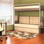 Двухъярусная кровать с диваном в интерьере: практичность и стиль