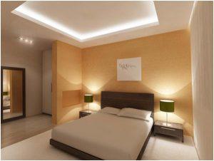 Белый цвет потолка в спальне