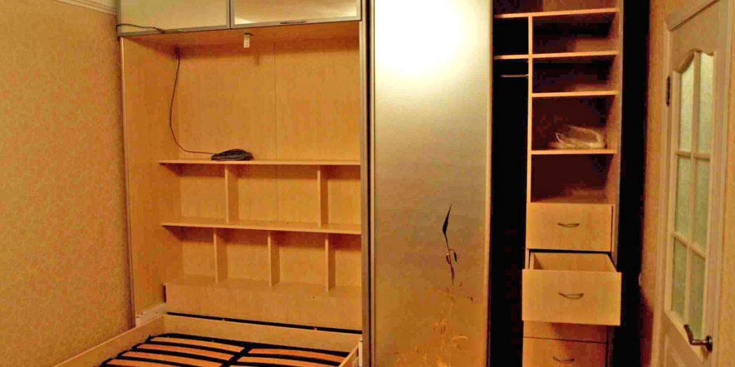 Встроенный шкаф купе с кроватью фото