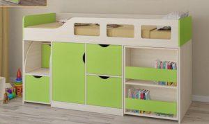 Зеленая кровать-чердак