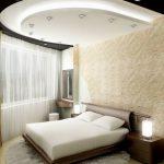 Красивый потолок в спальне из гипсокартона