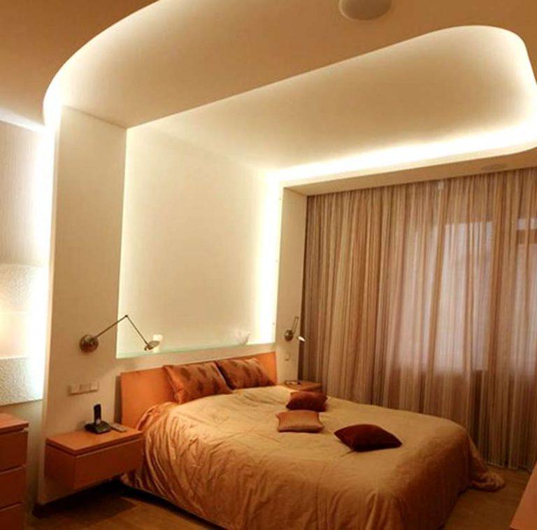 Потолок из гипсокартона в спальне фото своими руками