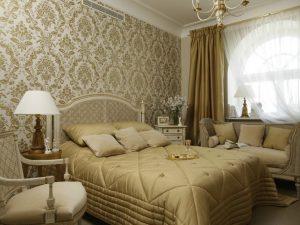 Применение обоев в спальне