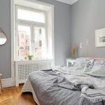 Серая краска для стен в спальне