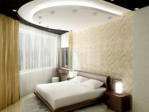 Спальня с привлекательным потолком