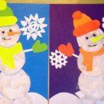 Аппликация «Снеговик» с шаблонами из бумаги и из ватных дисков