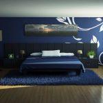 Синие обои для спальни: как выглядит интерьер