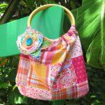 Летняя сумка своими руками с круглыми ручками из бамбука