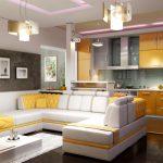 Плюсы и минусы дизайна кухни совмещенной с гостиной