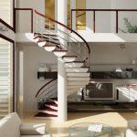 Стильный дизайн с лестницей в гостиной — О Комнате